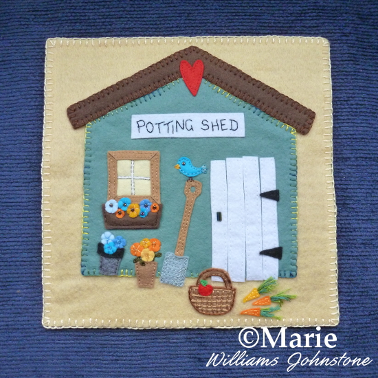 Gardening design wool felt applique garden hut shed wall hanging BOM quilt block