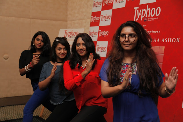 Wanitha Ashok with her friends doing a small exercise routine at the Typhoo Wellness session held in Bangalore