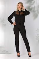 Pantaloni Torra negri cu imprimeu discret
