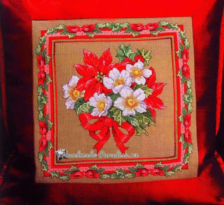 Вышивка крестом. Подушка с рождественскими звездами (1)