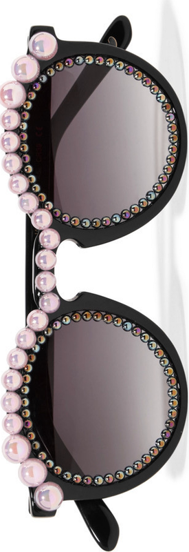 FREDA BANANA Jane Round-Frame Embellished Acetate Sunglasses