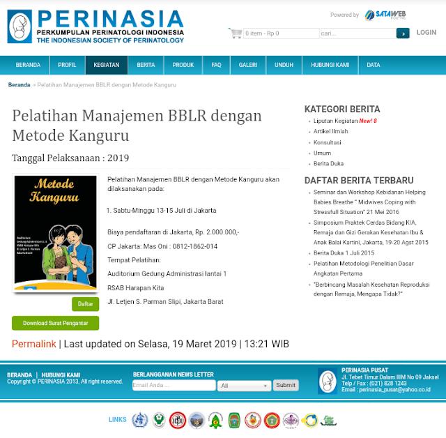 Pelatihan Manajemen BBLR dengan Metode Kanguru-PERINASIA (20-21 Juli 2019) Jakarta