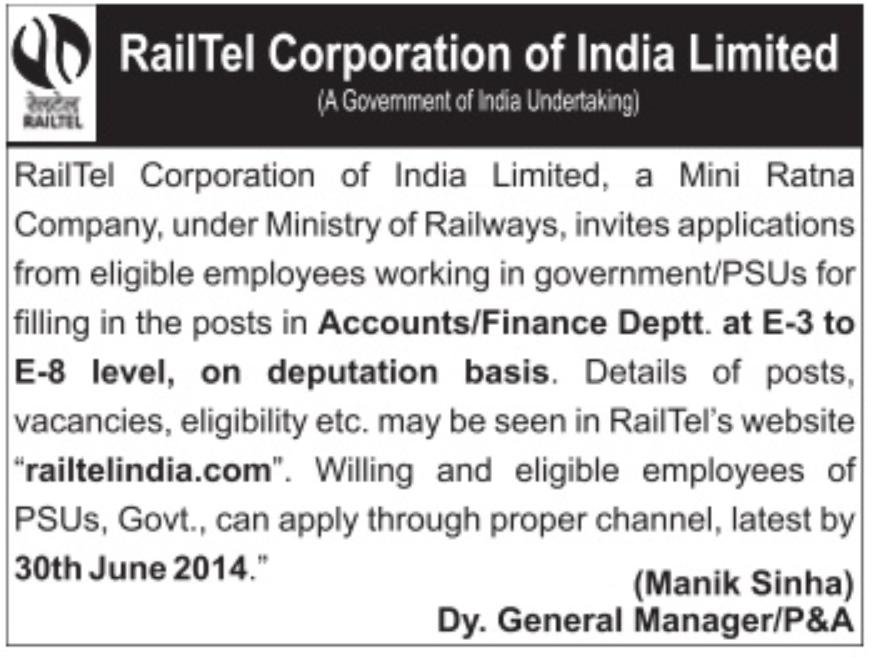 Railtel Recruitment 2014 Stenographer (08 Vacancies)