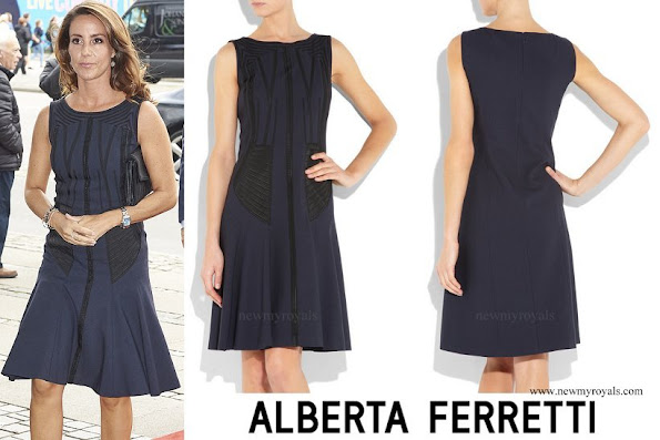 Princes Marie wore Alberta Ferretti Paneled wool blend dress