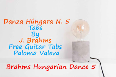 Danza Húngara N. 5 Tabs By J. Brahms - Free Guitar Lessons Paloma Valeva - Sheet Music
