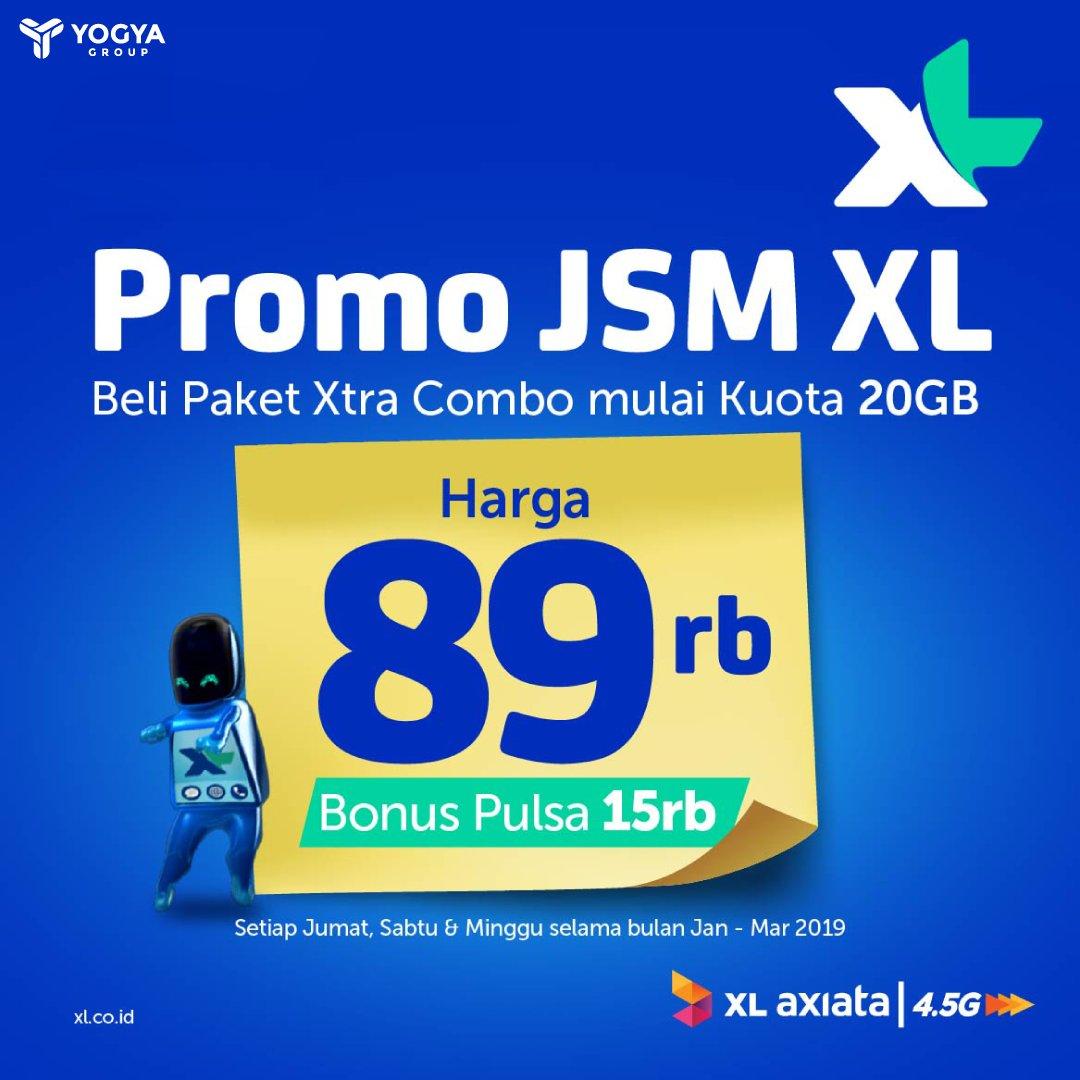 #Yogya - Promo JSM XL Xtra Combo 20G Hanya 89K + Bonus Pulsa 15K (s.d 31 Maret 2019)