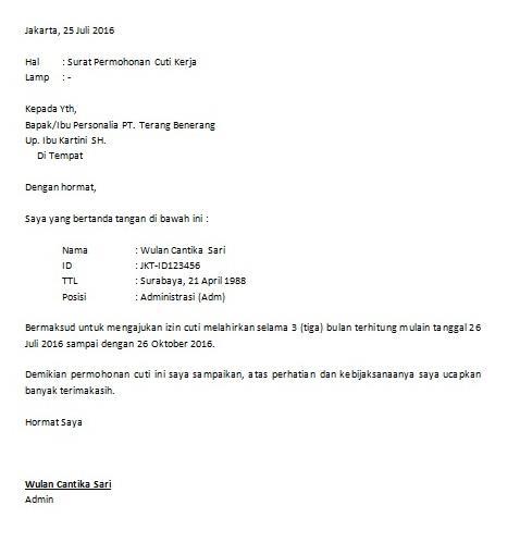 Contoh Surat Izin Cuti Libur Kerja Bagi Karyawan Lengkap