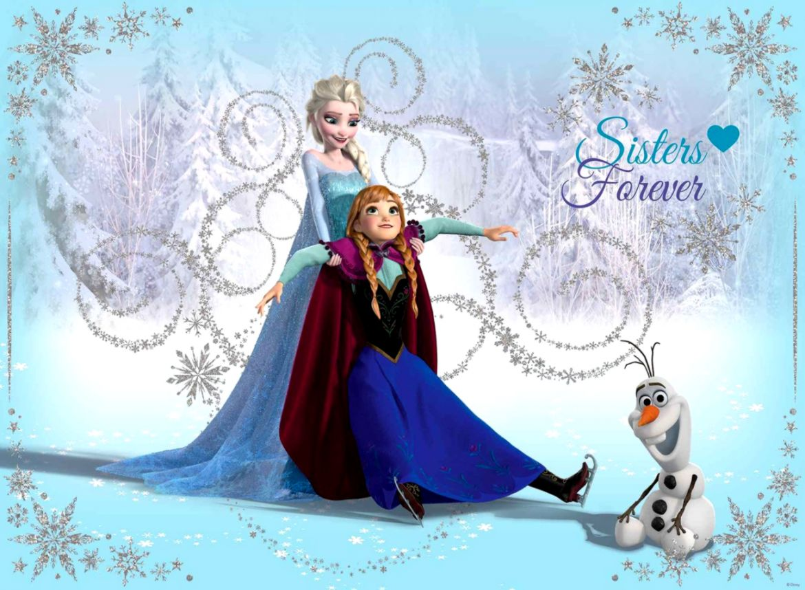 Disney Frozen Elsa Anna Olaf Wall Paper Mural Buy at EuroPosters