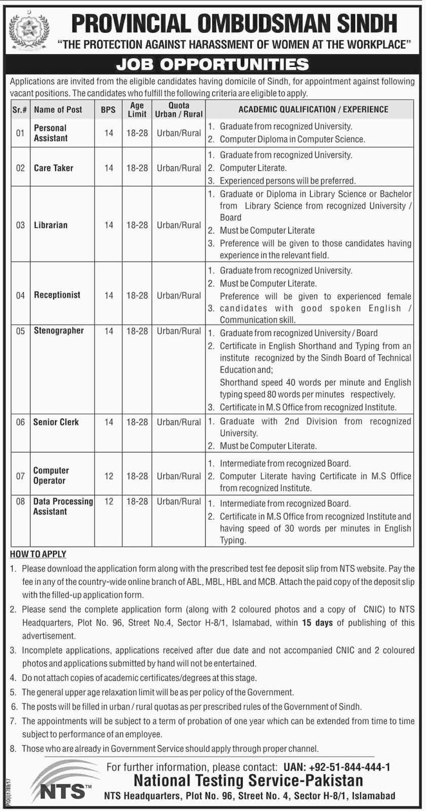 Jobs In Provincial Ombudsman Sindh Oct 2017