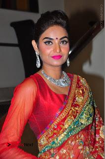 Model Sharon Fernandes Stills in Red Saree at Trendz Exhibition Launch  0022.JPG