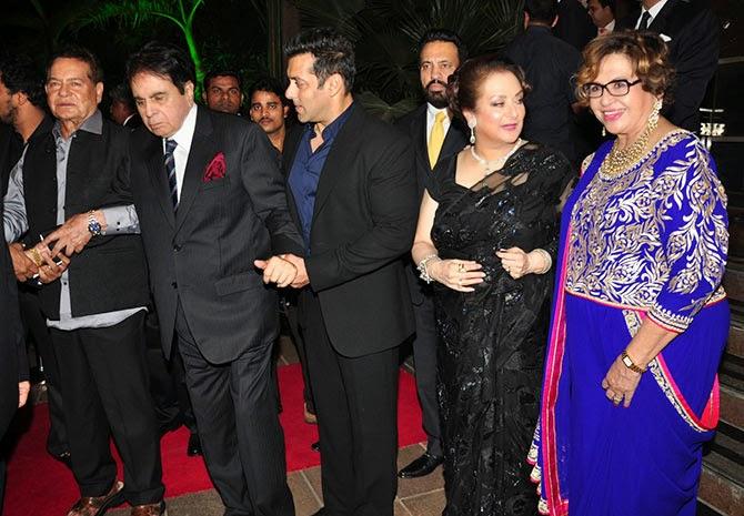 Salim Khan, Dilip Kumar, Salman Khan, Saira Banu, Helen