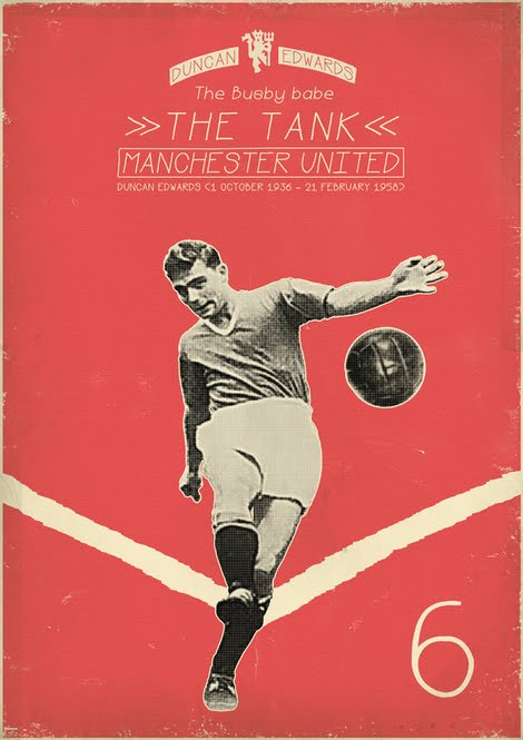 Extensive Poster Design Exercise Featuring Soccer Football Players Great Use Of Colour Texture And Black White Imagery Liking The Classic Retro Sport
