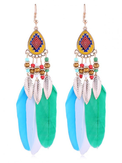 Vintage Beaded Feather Bohemian Earrings