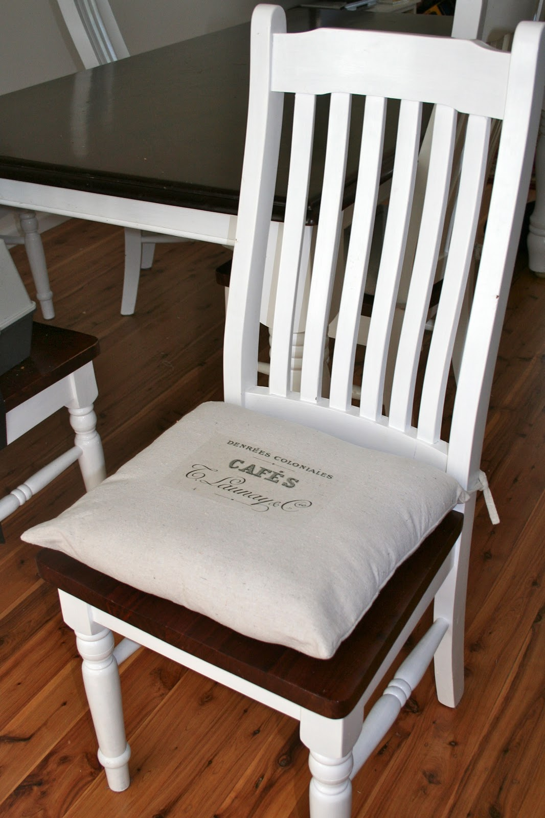 Chair Cushions With Tie Backs Lumbar Support For Office Vintage Cafe Drop Cloth Back