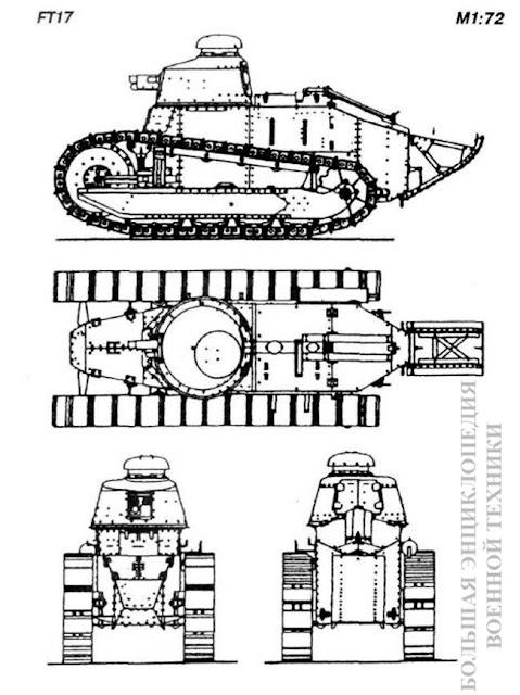 Общий вид легкого танка FT17 (Char leger d'accompagnement)
