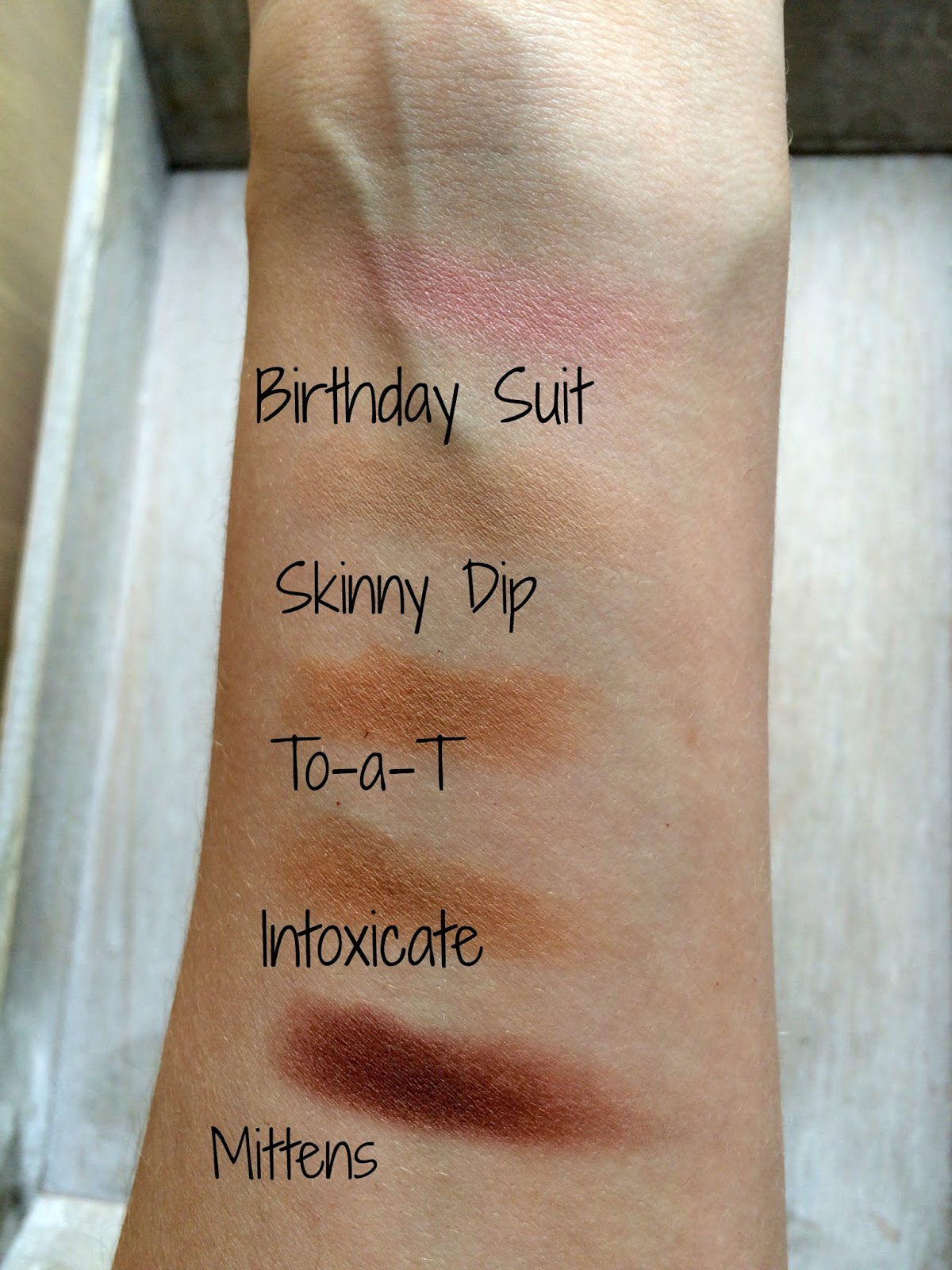 ColourPop swatches birthday suit skinny dip mittens to-a-t intoxicate