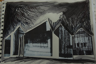 inkylinky house lithograph sketch