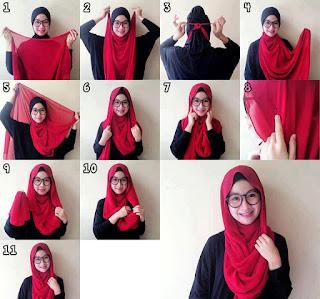 15+ Tutorial Hijab Segi Empat Terbaru Masa Kini