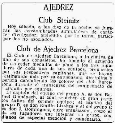 Recorte de La Vanguardia del 8 de febrero 1930