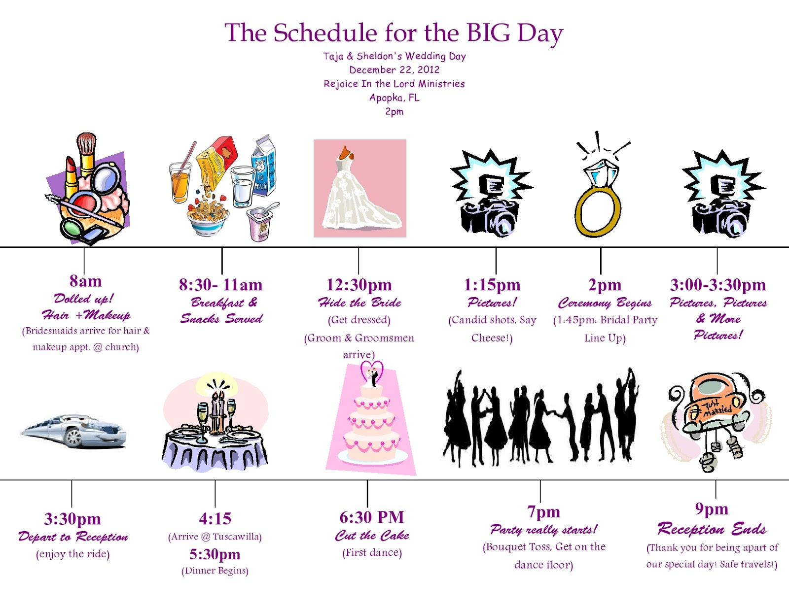 Wedding day timeline schedule for Wedding party schedule template