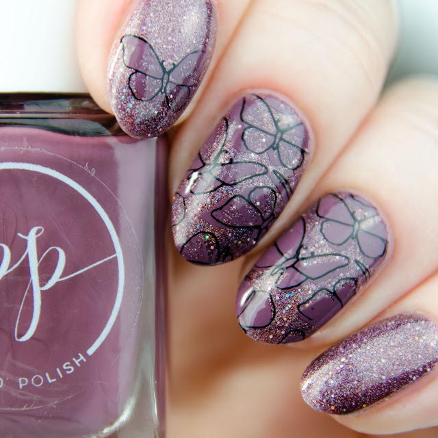 "Painted Polish ""Stamped in Mulberry"" stamping swatch"
