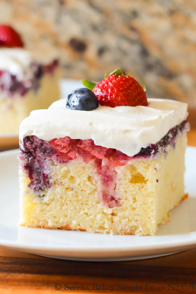 Red White and Blue Patriotic Poke Cake with Strawberry Blueberry Filling
