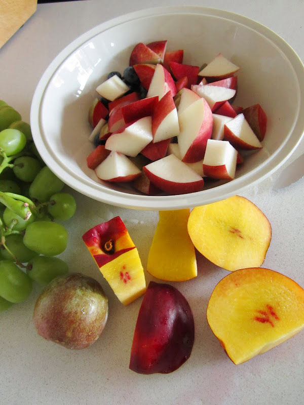 Most of the fruit is cut in a white bowl, there is one nectarine and a pluot on the table that need to be cut