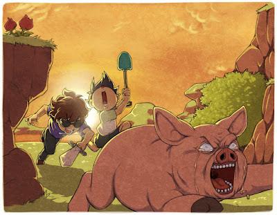 dibujo de minecraft jugadores contra cerdo