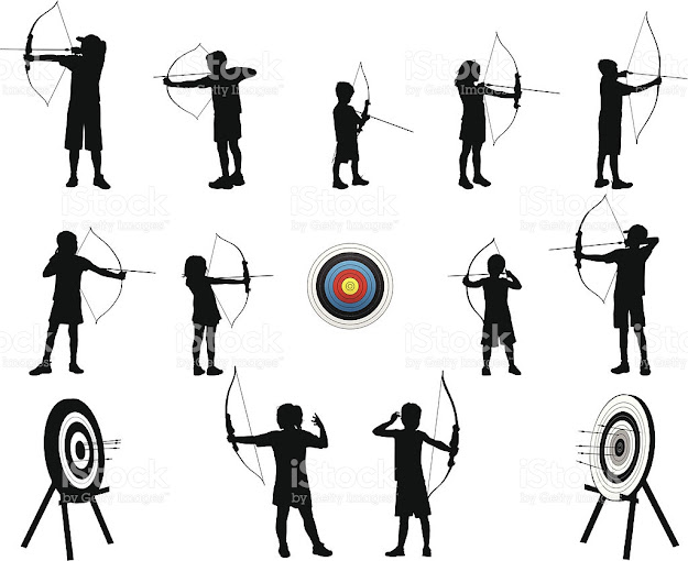 Archery Kids Royaltyfree Stock Vector Art