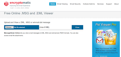 Image shows a screenshot of the free online .msg .eml email file viewer at Encrytomatic.com/viewer/