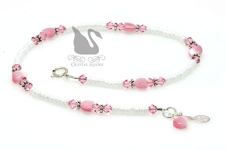 Love's Blush Crystal Rose Pink Heart Beaded Anklet (A116)
