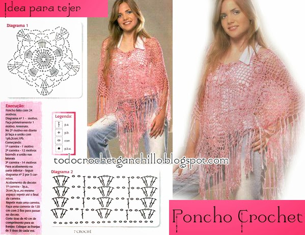 Poncho crochet con grannys y punto red