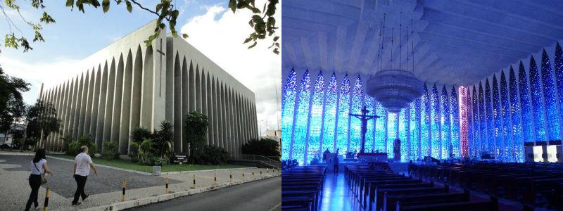 Exterior e interior del Santuario Dom Bosco de Brasilia