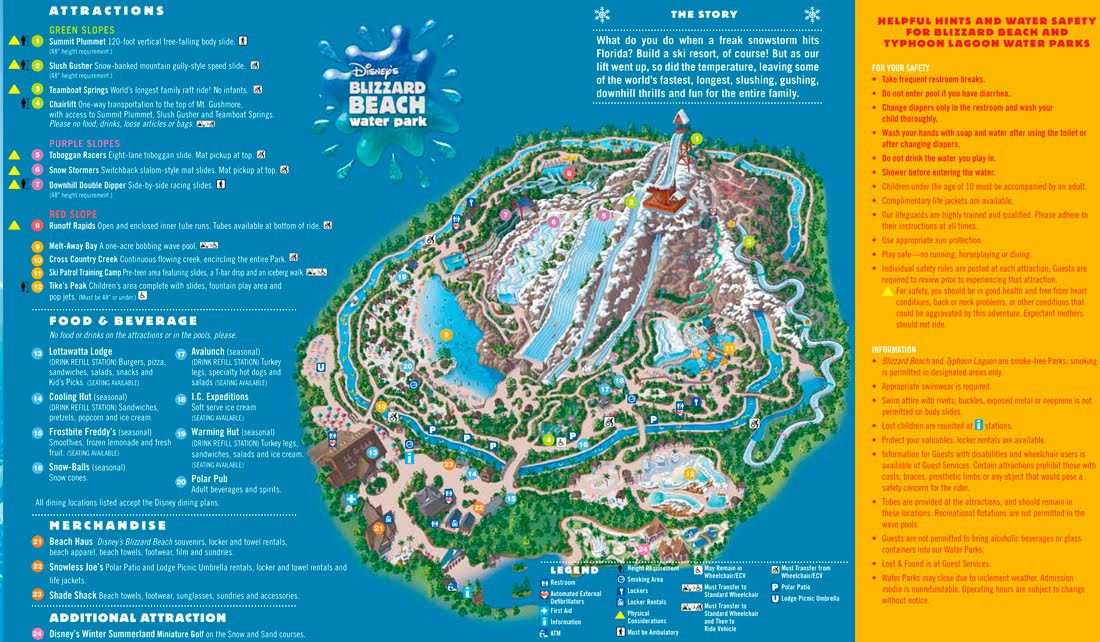 Mapa Disney's Blizzard Beach Water Park, Orlando