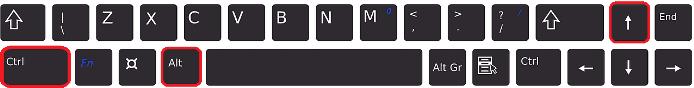 Combinación de teclas: Ctrl + Alt + Feclha direccional hacia arriba
