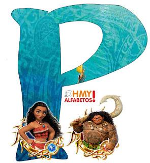 Alfabeto de Moana y Maui con la Fuente de Moana. Moana and Maui Free Printable Alphabet.