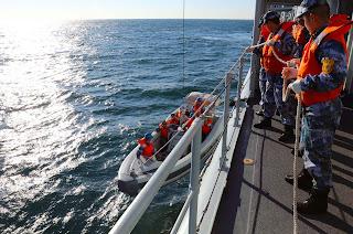 Entrenamiento en el mar Amarillo