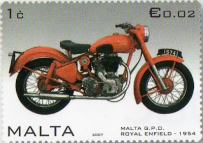 Postage stamp showing motorcycle.