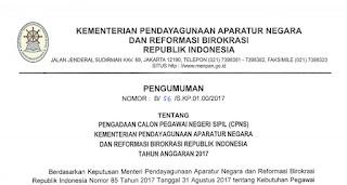 Pendaftaran CPNS Kemenpan-RB 2017 Putaran Kedua