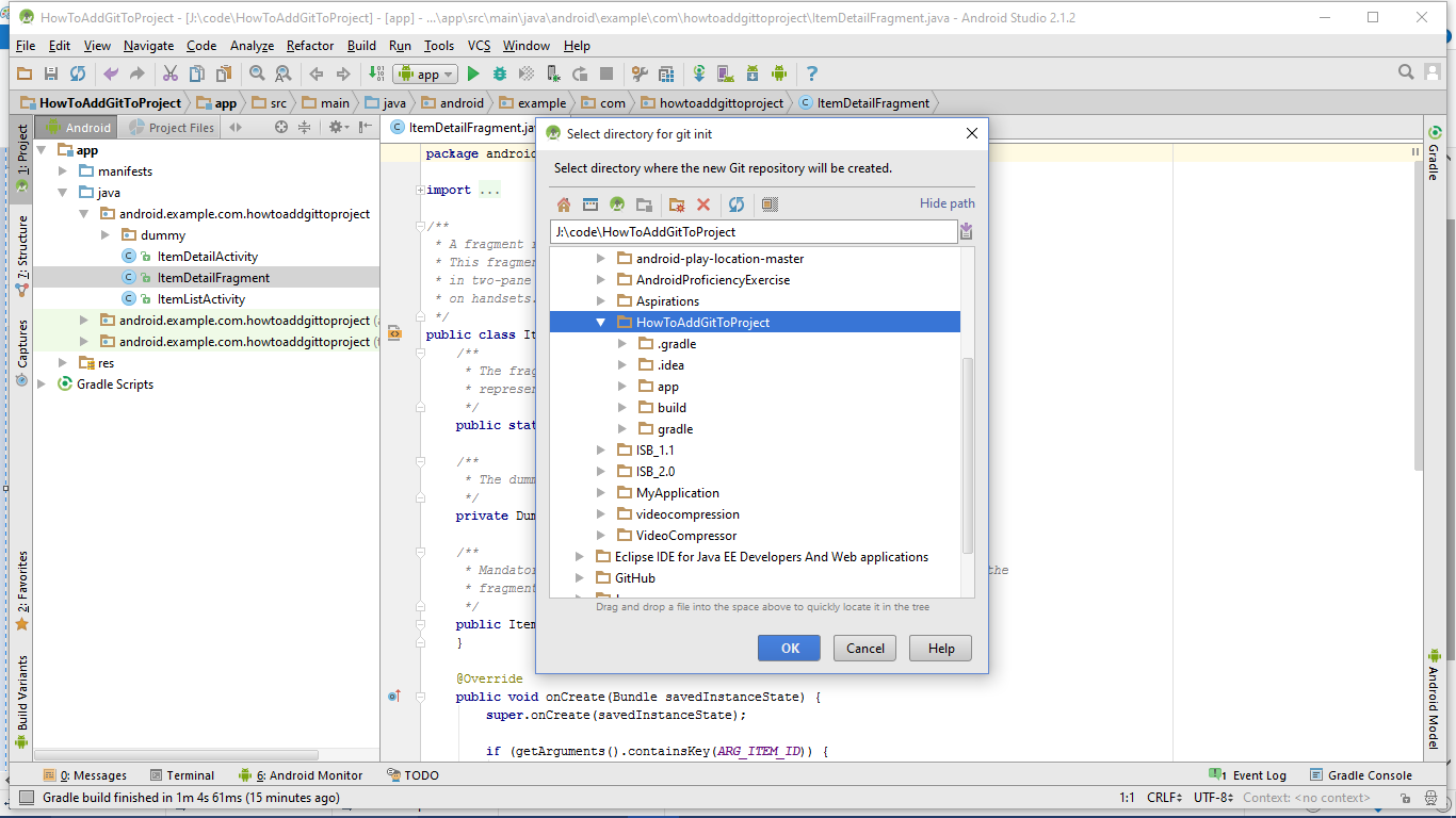 How to Add Git to Android Studio Projects and pushed it to