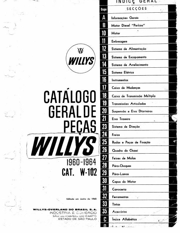 MANUAIS DO PROPRIETÁRIO: CATÁLOGO DE PEÇAS WILLYS 1960