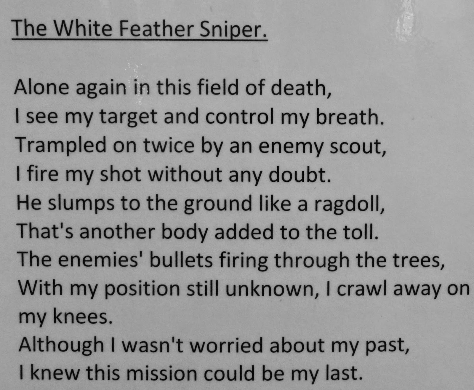White Feather poem