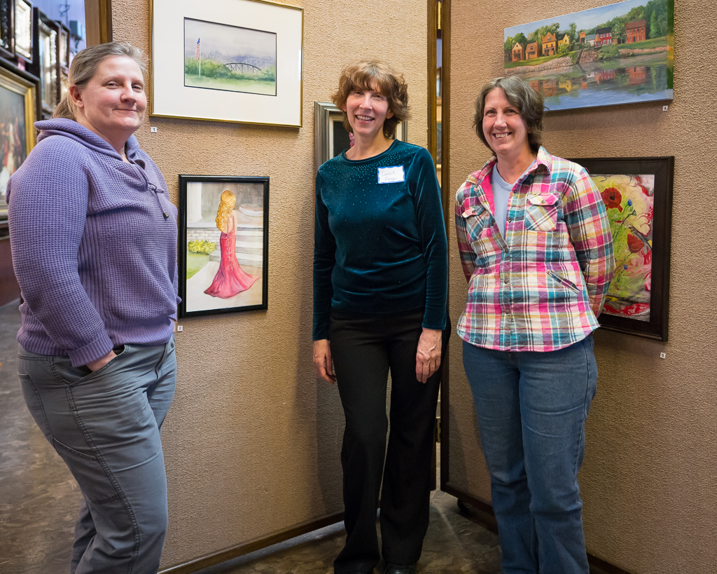 a photo of my sisters at the opening of a show at the merrick art gallery