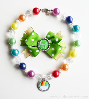 St. Patrick's Day Bottle Cap Necklace and Hair Bows