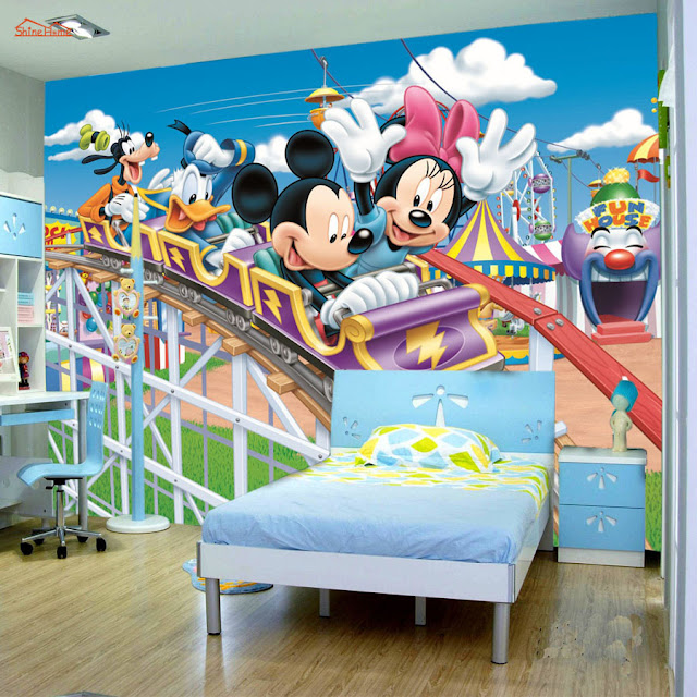 Picture Wallpaper for Walls Disney Mivkey Mouse 3D Kids  Wall Mural