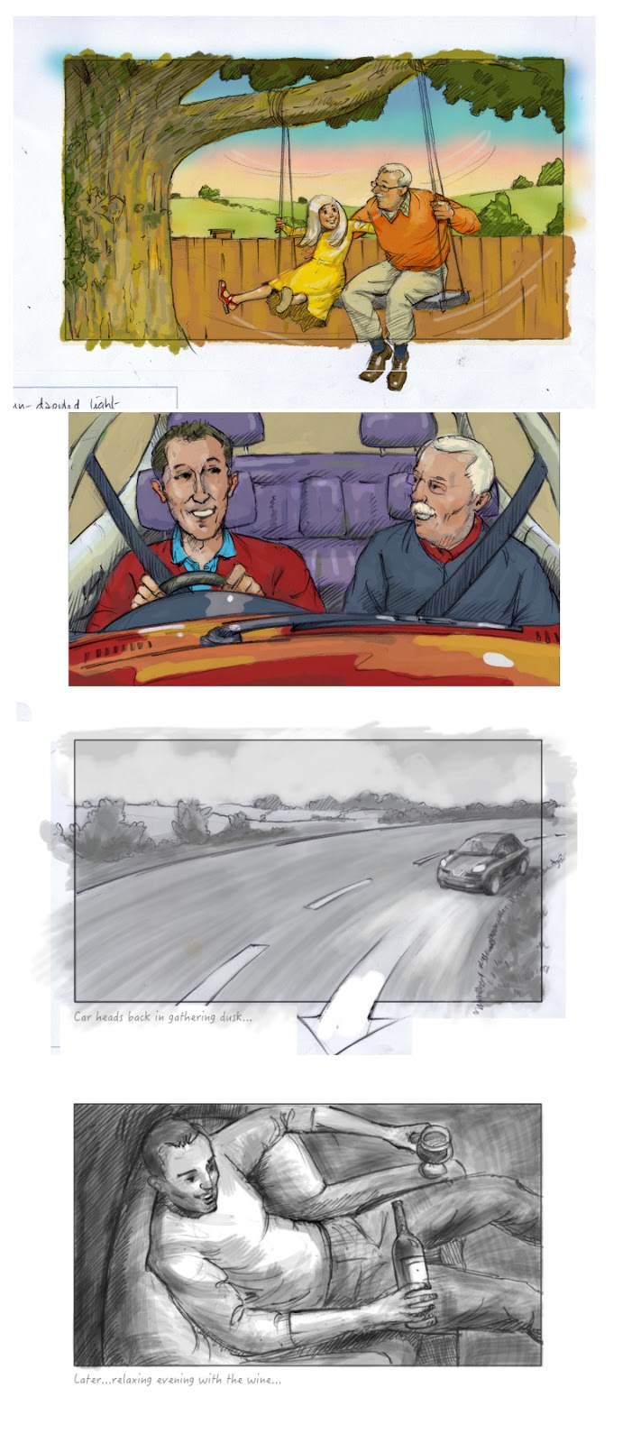 A selection of storyboard art panels for a commercial advertising project for DDFH+B