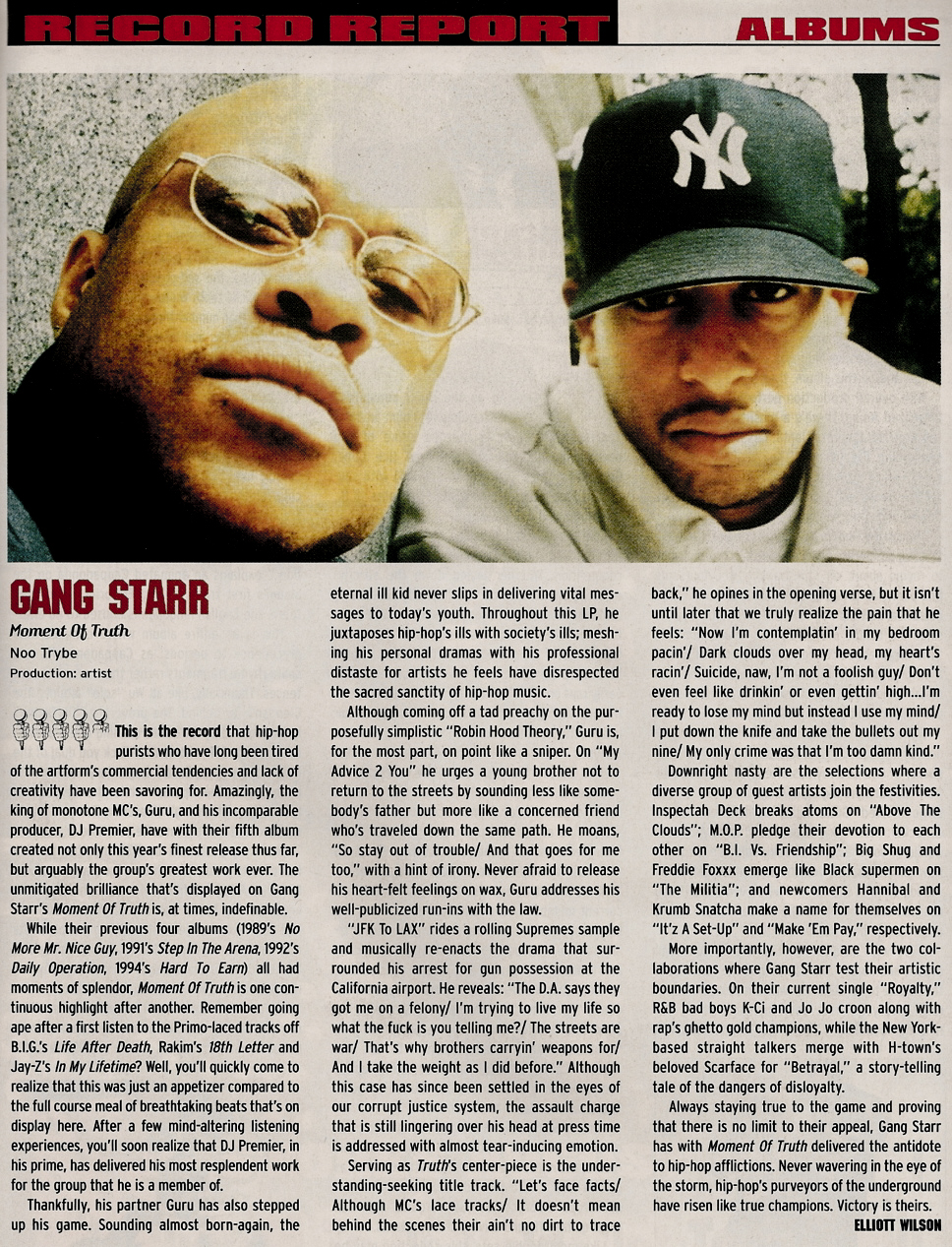 Gang Starr Moment of Truth The Source Album Review Elliott Wilson