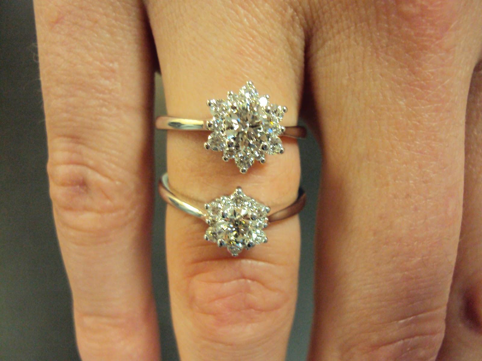 Nauti Nuptials Diamond Flower Engagement Rings