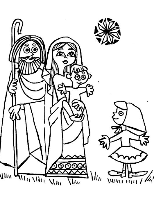 El niño jesus la virgen maria y San jose para colorear