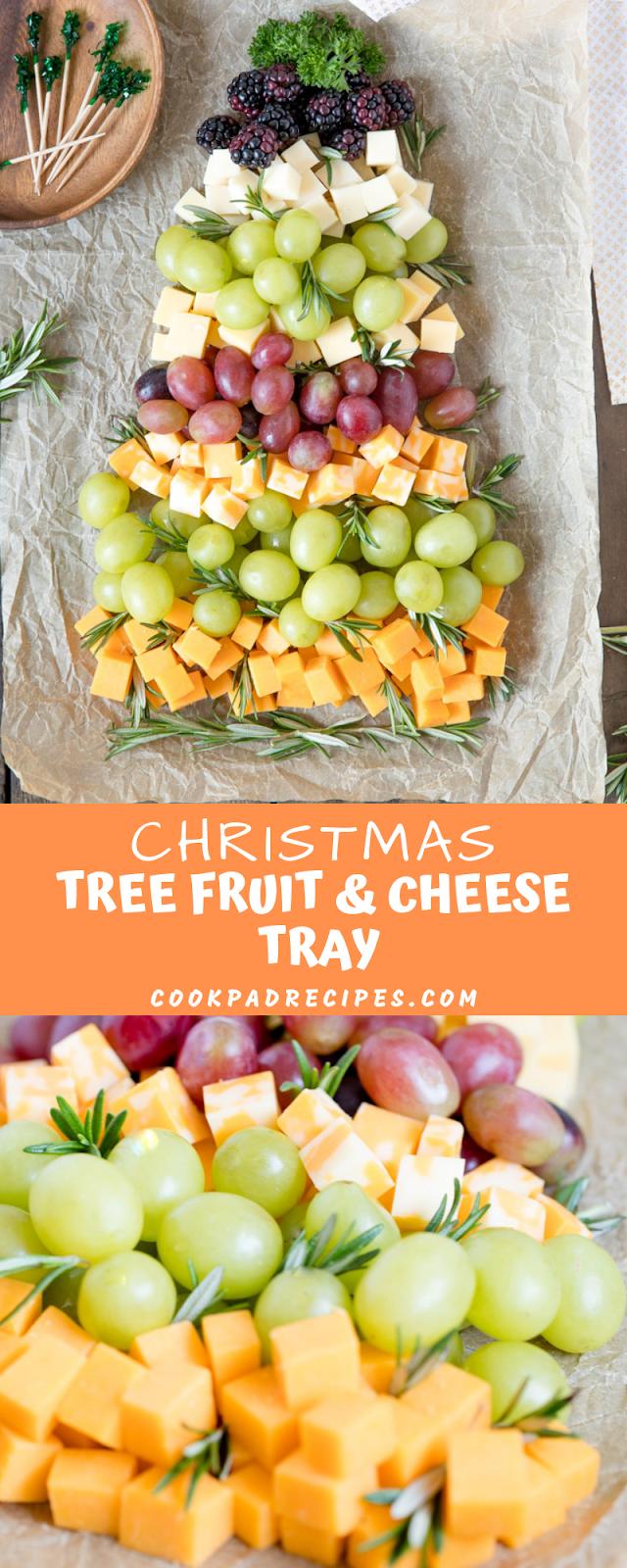 CHRISTMAS TREE FRUIT & CHEESE TRAY
